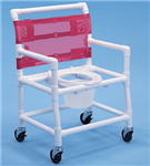 PVC Shower Commode Chair 28 in. Wide Bar In Back