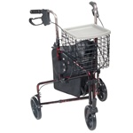 Deluxe 3-Wheel Aluminum Rollator with Basket, Tray and Pouch