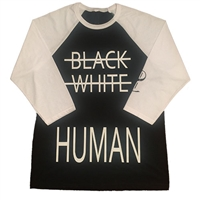 Black White Human Baseball Tee