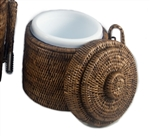 Small Rattan Ice Bucket with Liner & Tongs