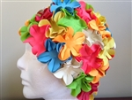 vintage retro swim cap with flowers
