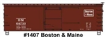 Accurail 1407 HO 36' Double-Sheathed Wood Boxcar Steel Roof Ends Straight Underframe Kit Boston & Maine 64739