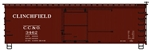 Accurail 1708 HO 36' Double-Sheathed Wood Boxcar w/Steel Roof Wood Ends Fishbelly Kit Clinchfield 3462