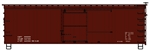 ACU1897 Accurail Inc HO 36'Wd Box 40's Data red 112-1897