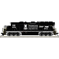 Atlas 10003491 HO EMD GP40-2 LokSound and DCC Gold Norfolk Southern 3052 Operation Lifesaver