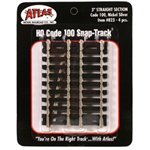"Atlas 823 HO Straight Snap-Track Nickel-Silver Rail 3"" Ties pkg 4"