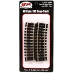 "Atlas 832 HO Code 100 Curved Snap-Track Nickel-Silver Rail 43832 Section 15"" Radius Ties pkg 4"