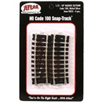 "Atlas 835 HO Code 100 Curved Snap-Track Nickel-Silver Rail 43833 Section 18"" Radius Ties pkg 4"