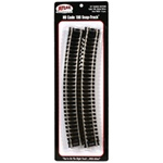 "Atlas 836 HO Code 100 Curved Snap-Track Nickel-Silver Rail 22"" Radius Black Ties pkg 6"