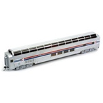 Bachmann 13005 HO Budd 85' Full-Length Dome w/Lights Silver Series Amtrak Phase I; Wide Red & Blue Stripes Arrow Logo