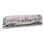 Bachmann 13032 HO Budd 85' Full-Length Dome w/Lights Silver Series Amtrak Phase III