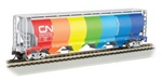 Bachmann 19151 N Canadian Cylindrical 4-Bay Grain Hopper Canadian National Demonstrator Rainbow Colors