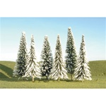 "Bachmann 32002 HO Snow-Covered Winter Pine Trees SceneScapes 5 to 6"" pkg 6"