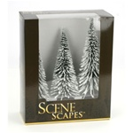 "Bachmann 32202 O SceneScapes Layout-Ready Trees Pine Trees w/ Snow 8-10"" pkg 3"