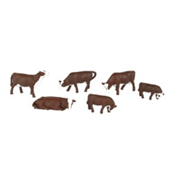 Bachmann 33102 HO Cows SceneScapes Brown & Pkg 6