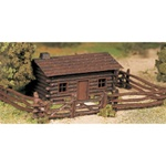Bachmann 45982 O Plasticville U.S.A. Classic Kits Log Cabin w/Rustic Fence