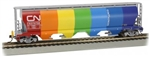 Bachmann HO 73805 Canadian Cylindrical 4-Bay Grain Hopper Flashing FRED Canadian National Demo Scheme