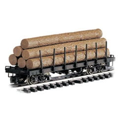 BAC98470 Bachmann Industries G Log Car Flat w/Logs Unltr 160-98470