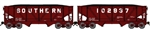 Bluford 64140 N 2-Bay Rebuilt War-Emergency Hopper Permanent Pair w\ Load Southern Railway 102937