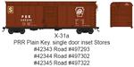 Bowser 42344 HO Class X-31a 40' Inset-Roof Single-Door Boxcar PRR 497302 Tuscan Plain Keystone Stores Service