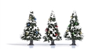 "Busch 6464 Snow-Covered Christmas Trees w/Ornaments 9/16"" Pkg 3"