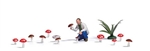 Busch 7875 HO Mushroom Hunter Action Set Figure 14 Mushrooms and Plants