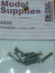 "Detail Associates 2555 Pan Head Screws 2-56 x 1/2"" Pkg 10"