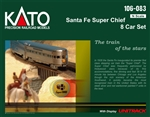Kato 106083 N Super Chief 8-Car Set w/ Display Unitrack Santa Fe 381-106083