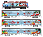 Kato 106-2016 N Operation North Pole Train-Only Set DC F40PH Loco & 3 Cars Metra Christmas 2016