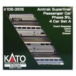 Kato 106-3515 N Amtrak Superliner 4-Car Set Phase IVb Set A