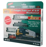 Kato 106-6273 N Diesel Freight Train-Only Set DC Santa Fe EMD F7 Bluebonnet