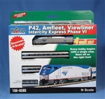 Kato 106-6285-DCC N Amfleet Viewliner Intercity Express Train-Only Set DCC Amtrak GE P42 3 Cars