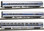 Kato 106-6286 N Intercity Express 3-Car Set Amtrak Phase IVb; Silver Blue Red Pinstripes 2000s Logo
