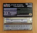 Kato 10671171 N El Capitan Coach and Storage Mail Car Set w/ Interior Lights RTR Santa Fe 2019 Roadnumbers Silver 381-10671171