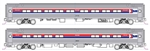 Kato 106-8013 N Amfleet I Coach & Cafe Set Amtrak Set B Coach #21232 Cafe #20041 Phase I Wide Stripes