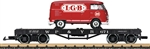 LGB 40597 G 4-Axle Flatcar with VW Van Load White Pass & Yukon 671 black red LGB Van