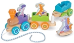 Melissa & Doug 4608 V First Play Wooden Rocking Farm Animals Pull Train Loco w/ Pull Cord 2 Cars 3 Animals