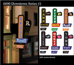 Micro Structures 66822 Animated Multi-Graphic Vertical Neon Sign Kit w/6 Overlays Downtown Series #1 Right Medium