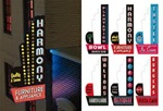 Micro Structures 67811 Animated Multi-Graphic Vertical Neon Sign Kit w/6 Overlays Downtown Series #2 Left Large