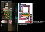 Micro Structures 69821 Animated Multi-Graphic Vertical Neon Sign Kit w/6 Overlays Fan Series #1 Left Medium