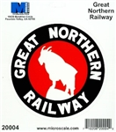 "Microscale 20004 4"" Die-Cut Vinyl Stickers Great Northern"