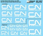 Microscale 5007 HO Canadian National Canadian National Mini-Cal Web Address Logo Various Sizes 2007+ 460-5007