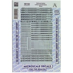 Microscale 90102 HO Alphabets & Numbers Railroad Gothic