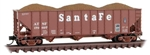Micro-Trains 10800123 N 100-Ton 3-Bay Ribside Open Hopper with Load Santa Fe 179658
