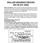 Micro Trains 004 02 031 Roller Bearing Trucks With Magne Matic Short Extended Couplers 1 Pair
