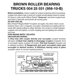 Micro Trains 004 25 031 Roller Bearing Trucks With Short Extended Couplers (Brown) 10 Pairs