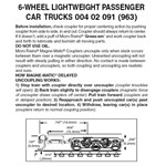 Micro Trains 004 42 091 Passenger Car Trucks 6 Wheel for Lightweight Passenger Cars