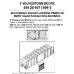 Micro Trains 499-20-937 Box Car Doors 8' Youngstown Style 50' Cars Pkg(12)