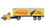 Classic Metal Works 31188 HO White WC22 Tractor w/ 32' Aerovan Trailer Assembled Mini Metals Coca-Cola Yellow Red Work refreshed Slogan 221-31188
