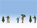 Noch HO 15927 Christmas Tree Lot Figures 5 People 3 Trees